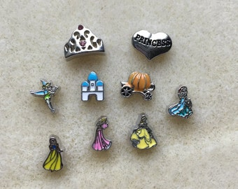 Princess Floating Charms for Lockets Tinkerbell Sleeping Beauty Ariel Belle Snow White Castle Pumpkin Coach
