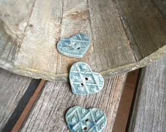 Set of Three Ceramic Heart Buttons   3 Small Cerulean Blue Stoneware buttons    Cerulean Heart Shaped Buttons   Blue Pottery buttons
