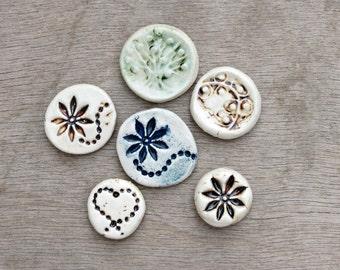 Ceramic cabochon, ceramic pendant, porcelain tesserae, ceramic flower, flower cabochon, tree of life cabochon, ceramic heart