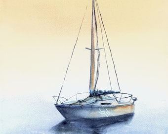 Sailboat at Dusk print from original watercolor painting nautical beach lake decor artwork by Debis ARTistry SAD2001