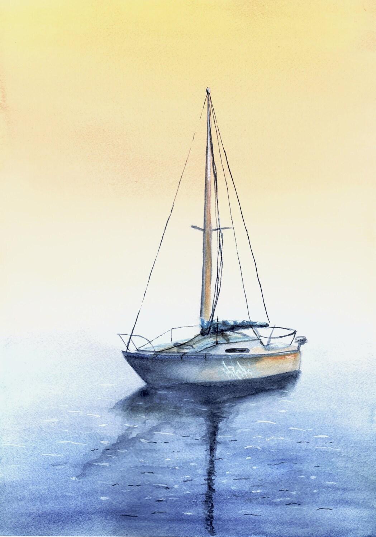 sailboat at dusk print from original watercolor painting nautical