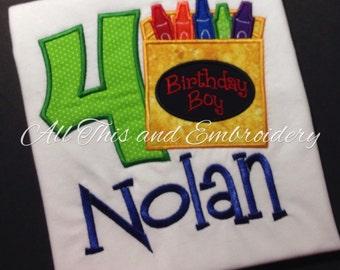 Birthday Crayon Shirt,  Crayola Themed Birthday, Birthday Shirt,  Boy Birthday Shirt, First Birthday Shirt,  Monogrammed Birthday Shirt
