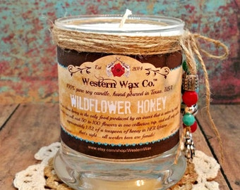 """Honey Scented Soy Candle:  10 oz Soy Candle in Upcycled Metro Jar, """"Wildflower Honey"""" Candle"""