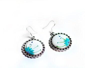 White earrings Bohemian earrings Blue flower earrings White jewelry Circle earrings Clay embroidery earrings Filigree earrings Gifts for her