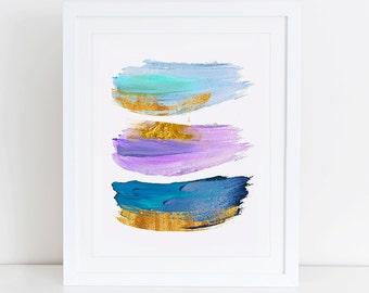 Modern Abstract  Art Print , Instant Download, Printable Home Decor, Digital Art Print, Watercolor Art Print, Abstract Paint Art, Pink Mint