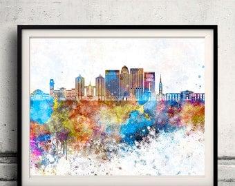 Louisville skyline in watercolor background - Poster Digital Wall art Illustration Print Art Decorative - SKU 2166