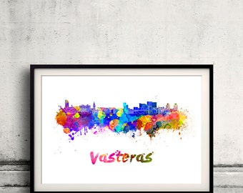 Vasteras skyline in watercolor over white background with name of city - Poster Wall art Illustration Print - SKU 1622