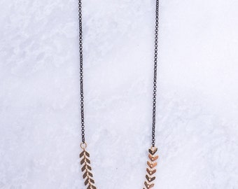 Black and Gold Arrow Necklace