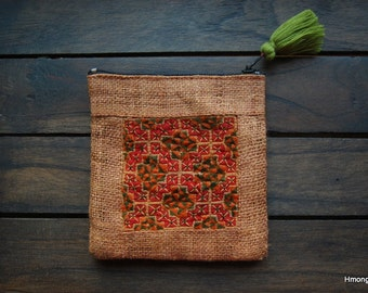 Light Brown Raw Hemp Hmong Coin Purse - Recycled & Hand Embroidered Hmong Fabric