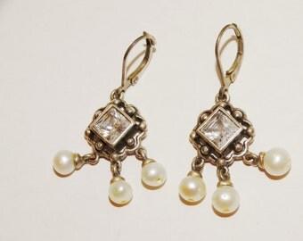 925 Sterling Silver White Stone Genuine Dangling Pearl Earrings.
