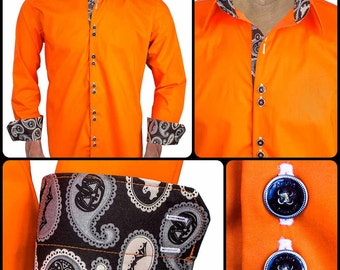Orange Halloween Designer Dress Shirt - Made To Order in USA
