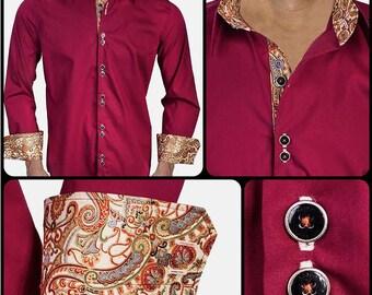 Maroon with Metallic Designer Dress Shirt - Made To Order in USA