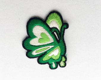 Green Butterfly Iron On Patch (S)#2 -  Butterfly Applique Embroidered Iron on Patch Size 3.7x4.8 cm