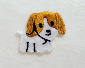 Dog Iron On Patch -White & Brown Puppy Applique Embroidered Iron on Patch