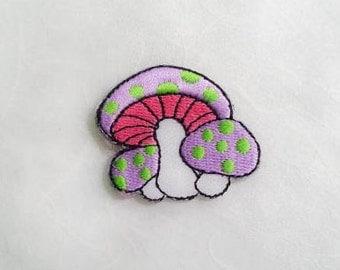 Light Purple Mushroom Iron on Patch(S) - Light Purple Mushroom Applique Embroidered Iron on Patch