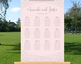 Wedding seating chart, wedding table numbers, wedding seating plan poster, DIY wedding sign, personalized, silver glitter confetti