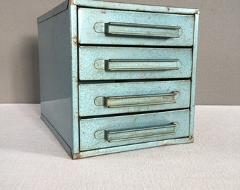 Vintage Industrial Metal Storage Cabinet with Four Drawers - Tool Box - Rustic Blue Metal Chest of Drawers