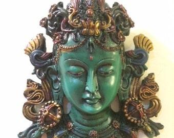 Clay Buddha / Tara Wall Hanging in Green or Brown