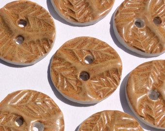 Leaf motif caramel and spicey orange pumpkin, round circular 1-inch porcelain ceramic buttons