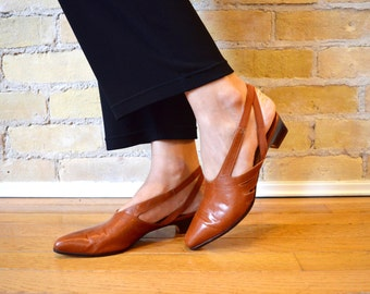 FRANCO SARTO (6M) Vintage Rich Brown Leather Sling Back Pointed Low Heel Shoes