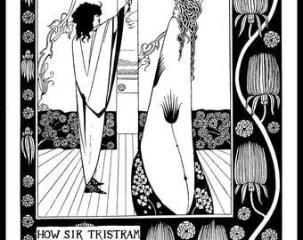 "Art Nouveau Print - Aubrey Beardsley, ""How Sir Tristram Drank Of The Love Drink"", Art Nouveau, Original Book Page Print, Ready For Framing"
