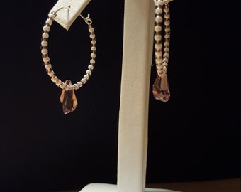 handmade Purple Swarovski crystal hoop earrings