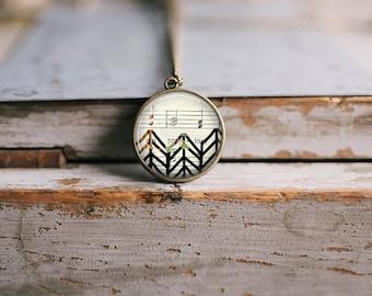 Chevron Sheet Music Necklace ⇻ Glass Dome Necklace ⇻ Boho Geometric Necklace