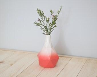 Geometric ceramic Bud vase in Coral