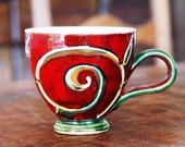 Pottery Coffee Mug, Red Ceramic Mug, Tea Mug, Cute Mug, Unique Mug, Handmade Mug, Danko Pottery, Ceramic Gift, Artistic Pottery