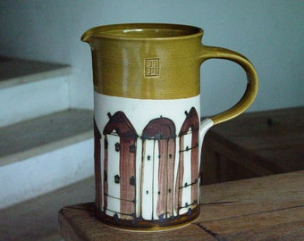 Stoneware Water Pitcher, Unique Wheel Thrown Ceramic Jug with Hand Painted Buildings, European Pottery, Danko Handmade