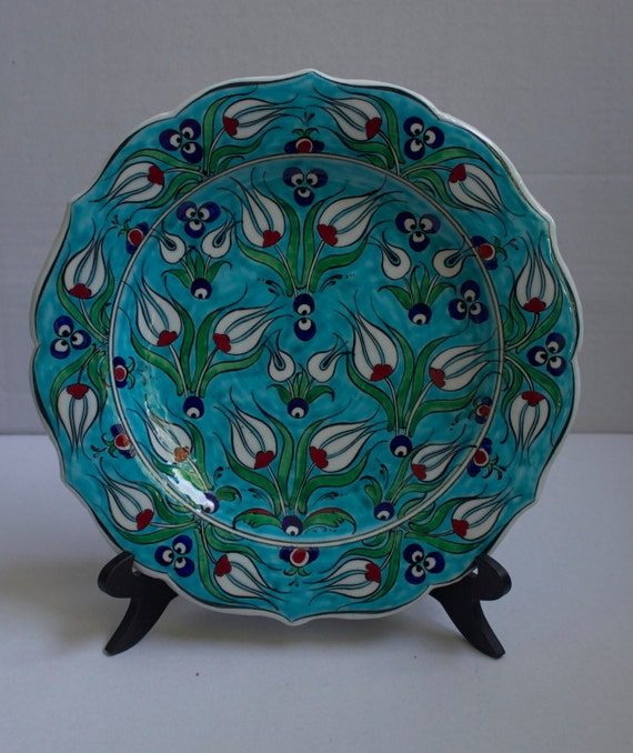 Floral Design Hand Made Turkish Ceramic Plate, House Decoration, Decorative Wall Hanging Plate, Interior Art Deco , Stoneware art, Tulip Art