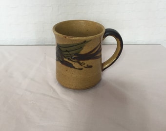 Vintage 70s Groovy Pottery Coffee Mug - Retro Stoneware  Mug - Makeup Brush Holder - Bohemian Cactus Planter