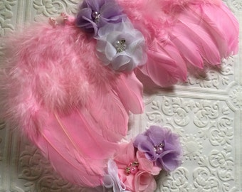 Baby wings, pink wings, baby headband and wings, photography prop, angel wings and headband, angel wings, baby photography wings, wings