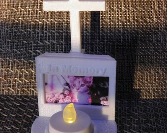 In Memory Candle holder with picture frame and cross
