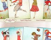 75% OFF SALE Sport - Digital Collage Sheet Digital Cards C181 Printable Download Image Tags Digital Image Atc Cards Sport Vintage ACEO