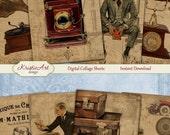 75% OFF SALE Vintage Mood - Digital Collage Sheet C134 Printable Download Tags, Men, Husband, Friend, Digital Atc Card ACEO Vintage Cards