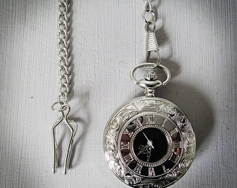 Vintage Inspired Men's Silver Pocket Watch with Roman Numeral white detail and silver chain clasp for Men's Waistcoat.