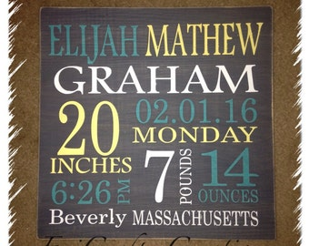 Custom Painted Wood Birth Announcement Signs