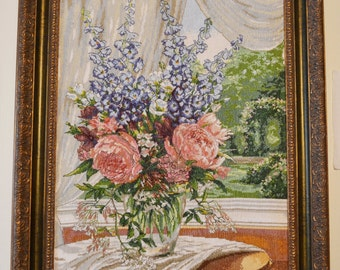 "Handmade cross-stitch pattern ""Peonies near the window"""