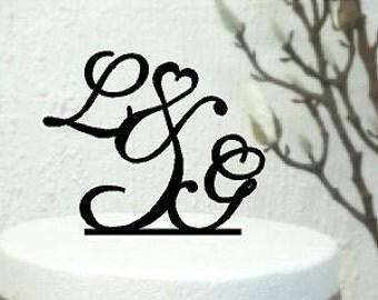 Acrylic Cake topper Wedding Personalised Initials for Cake with &