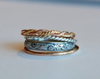 Autumn - Set of Four Rings Rose Gold, Yellow Gold and Sterling Silver