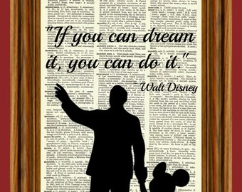 Walt Disney & Mickey (Dream Quote) Upcycled Dictionary Art Print Poster