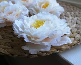 Artificial Peony Flower Head Pastel Peach Peony Cream Shabby Chic Romantic Bride Wedding Decoration Fabric Peony Supplies UK Artificial Silk