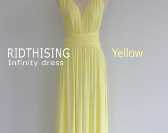 Maxi Yellow Infinity Dress Bridesmaid Dress Prom Dress Convertible Dress Wrap Dress