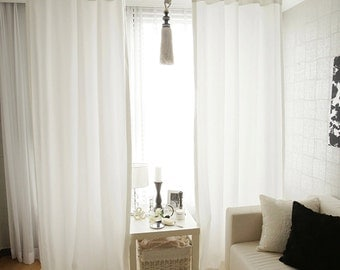 Pure White Classic Curtain Drapery Panel