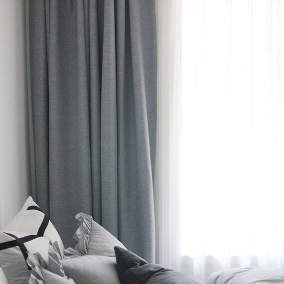 Light Grey Woven Textured Classic Blackout Curtain