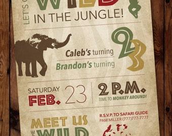 Safari Birthday Invitation, Jungle Birthday Invitation, Birthday Boy Invitation