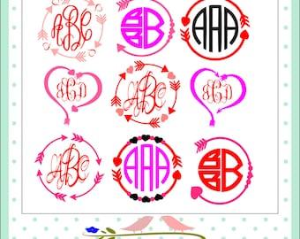 Heart Arrow Monogram Frames SVG, valentines SVG Eps Png Dxf, Valentine Cricut DS Silhouette ...