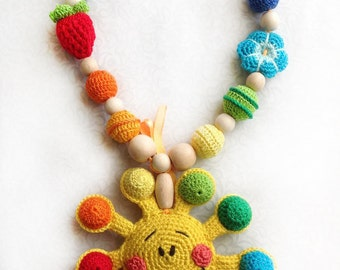 Teething necklace Baby teething toy Baby toy Nursing necklace Rainbow necklace Learning toy Toddler toy Teething Teether Sensory toy Rattle
