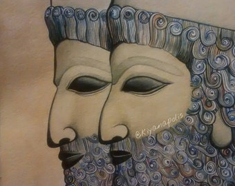 Persepolis, Takhtejamshid, Watercolor, Shiraz, Persian painting, Persian art, Norooz takhte jamshid, Persian history, Persian mythology Iran